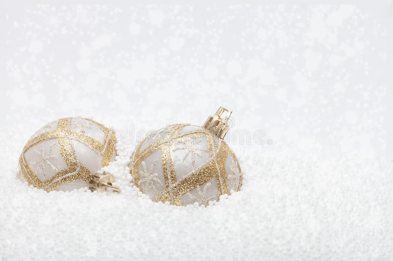 White and gold Christmas ornaments stock images