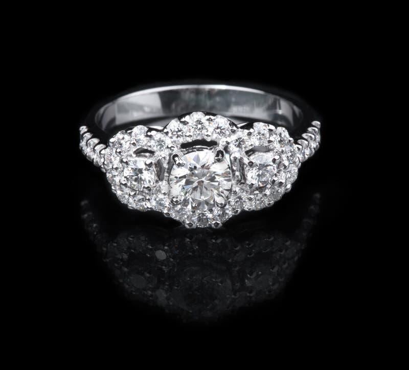 Download White Gold Diamond Ring On Black Background Stock Photo - Image: 31919810