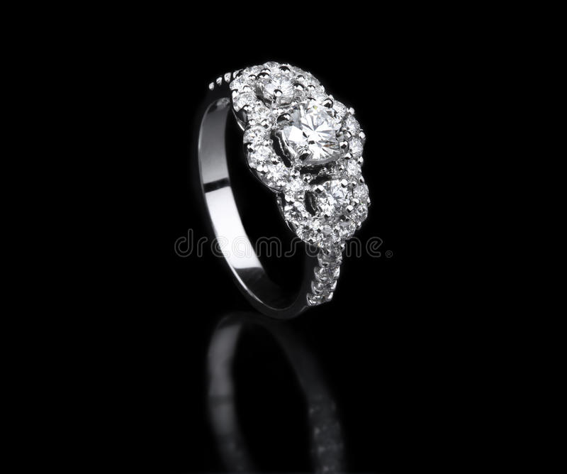 Download White Gold Diamond Ring Standing Position Stock Photo - Image: 31919490