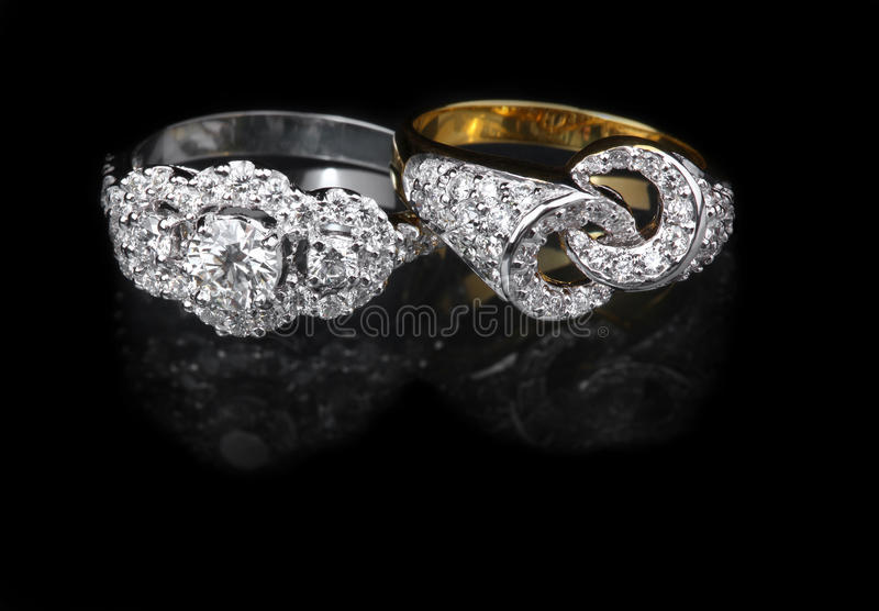Download White Gold And Golden Diamond Rings Stock Photo - Image: 31919734