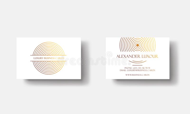 White Gold Luxury business cards for VIP event. Elegant Greeting Card with golden circle geometric pattern. Banner or royalty free illustration