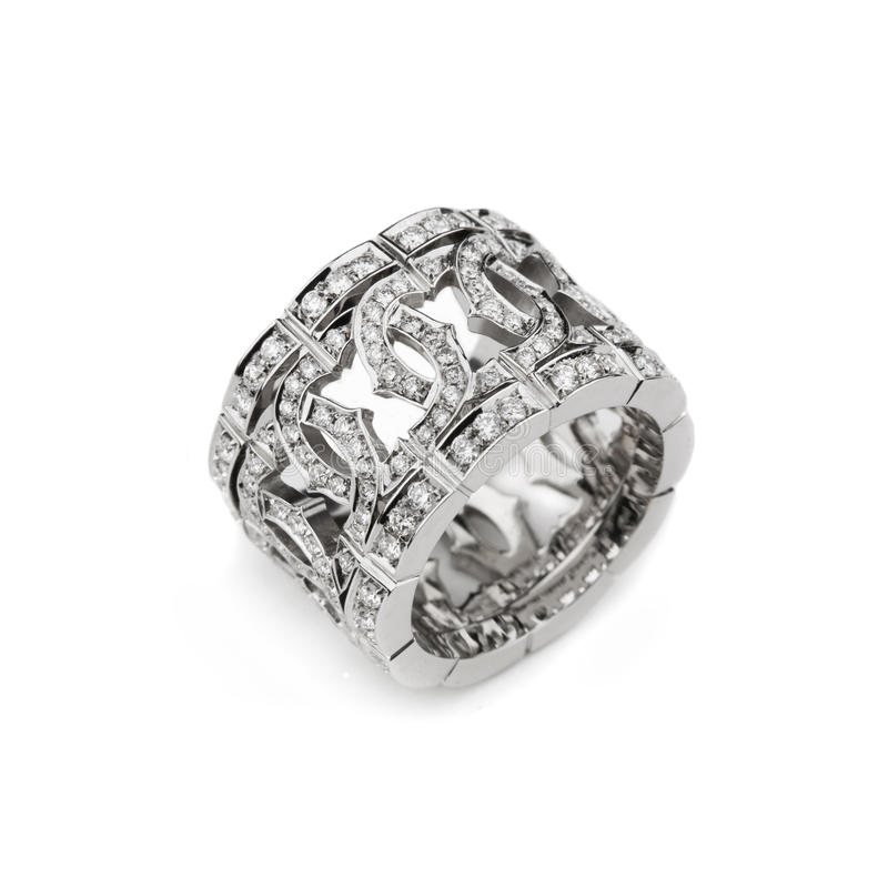 Download White Gold Pattern Ring With White Diamonds For Gi Stock Photo - Image: 10780068