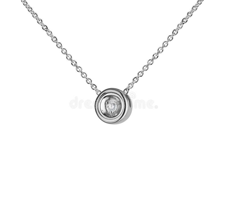 White gold pendant with diamond, round shape, golden chain, isolated on white royalty free stock photos