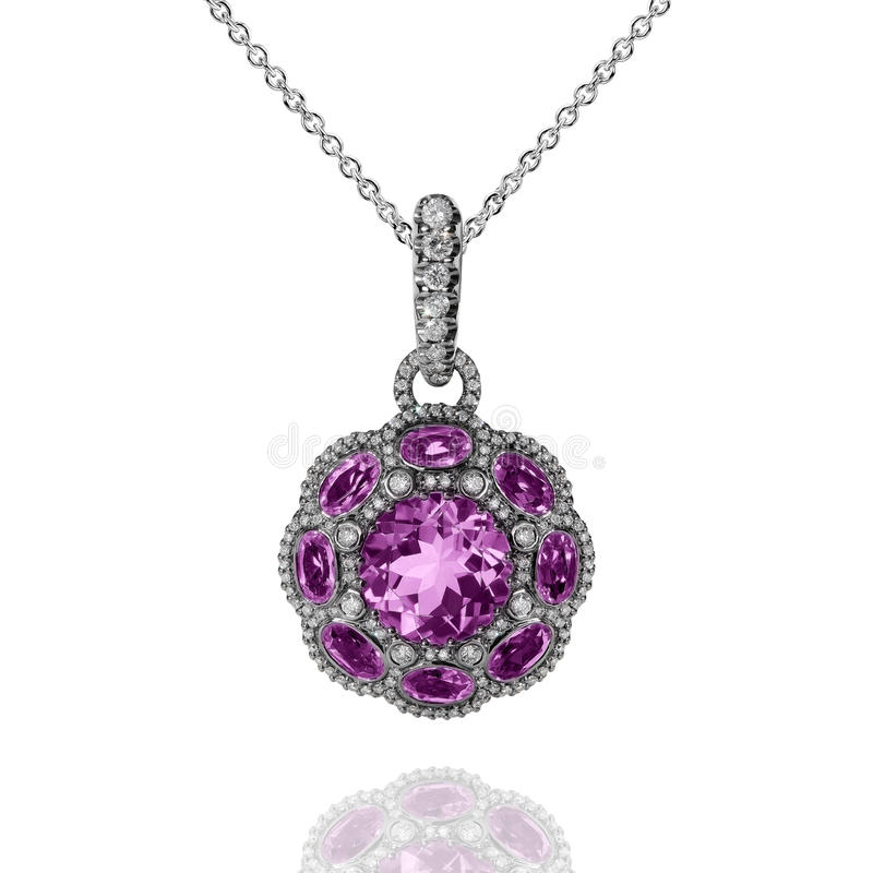 White gold pendant with violet amethysts and white diamonds royalty free stock image