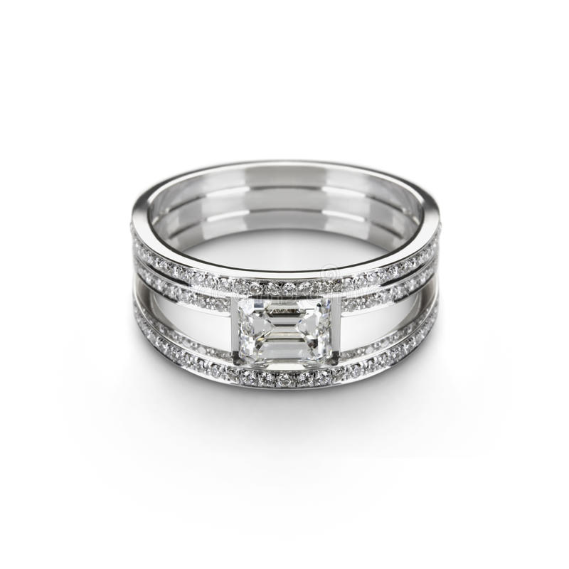 White gold ring with white diamonds stock images