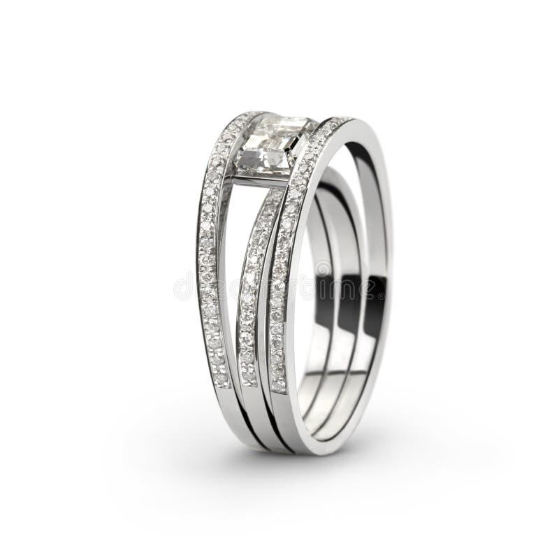 White gold ring with white diamonds_2 stock image