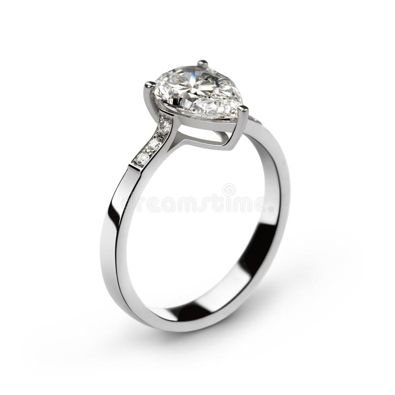 White gold ring with white diamonds and one big pe stock photo