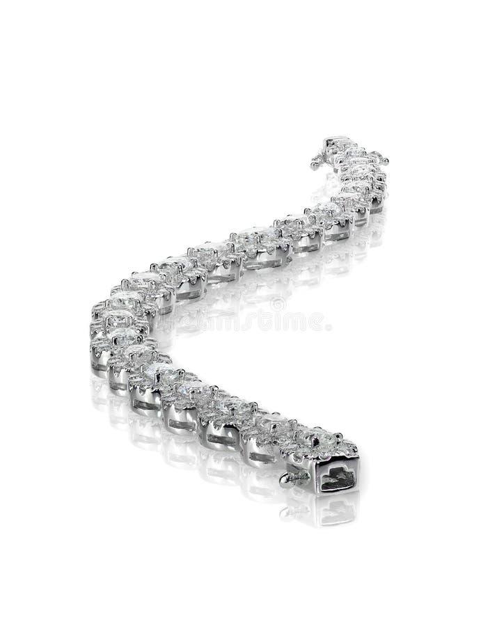White gold silver diamond tennis bracelet stock photography