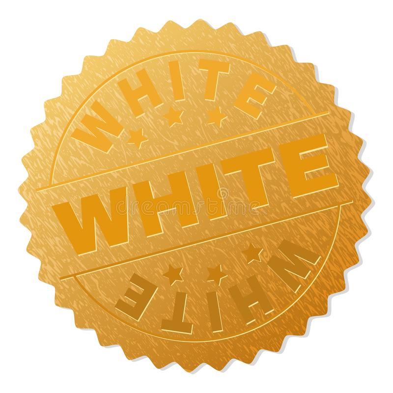 Gold WHITE Award Stamp. WHITE gold stamp award. Vector gold award with WHITE tag. Text labels are placed between parallel lines and on circle. Golden surface has stock illustration