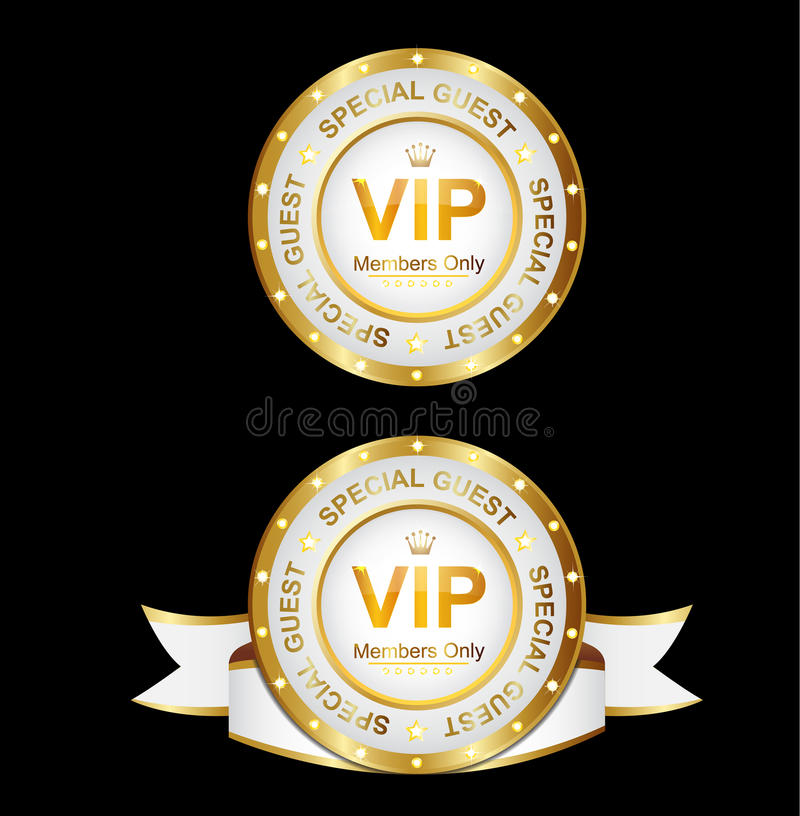 White Gold Vip Sign. Vip for member golden and white color royalty free illustration