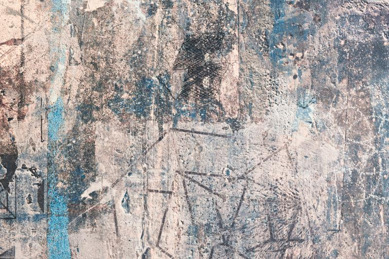 White, golden, blue messy wall stucco texture background. Decorative wall paint stock photo