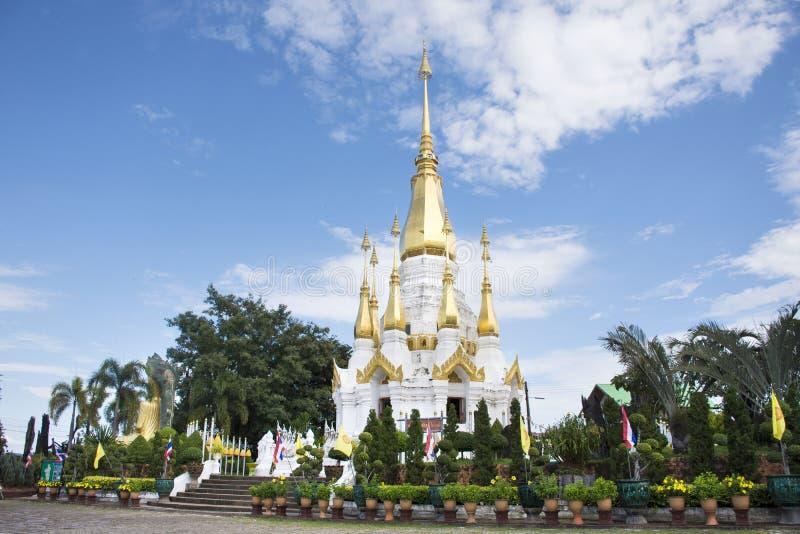 White and golden chedi of Wat Tham Khuha Sawan Temple royalty free stock photo