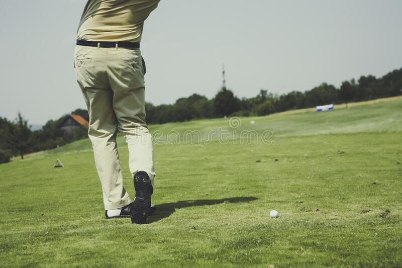 White Golf Ball on Field royalty free stock image