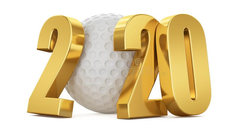 White golf ball and gold numbers 2020 on a white background. 3d illustration rendering stock illustration