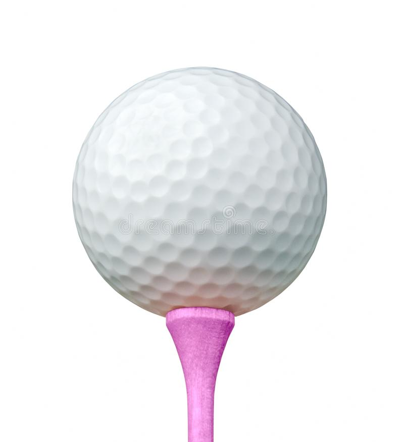 White Golf Ball on Pink Tee Isolated on a White Background royalty free stock photos