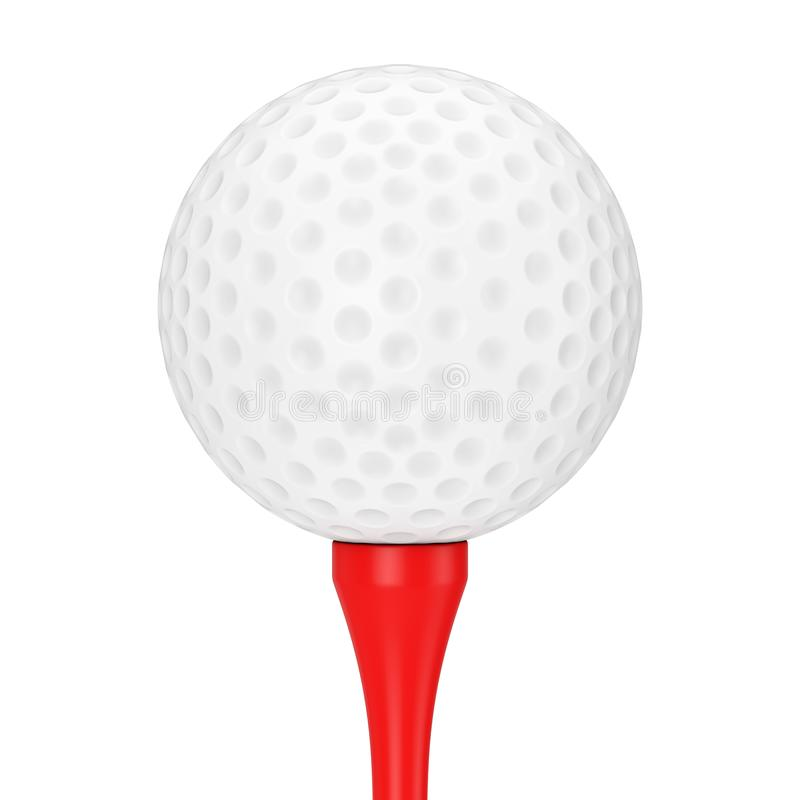 A White Golf Ball on Red Tee. 3d Rendering. A White Golf Ball on Red Tee on a white background 3d Rendering stock illustration
