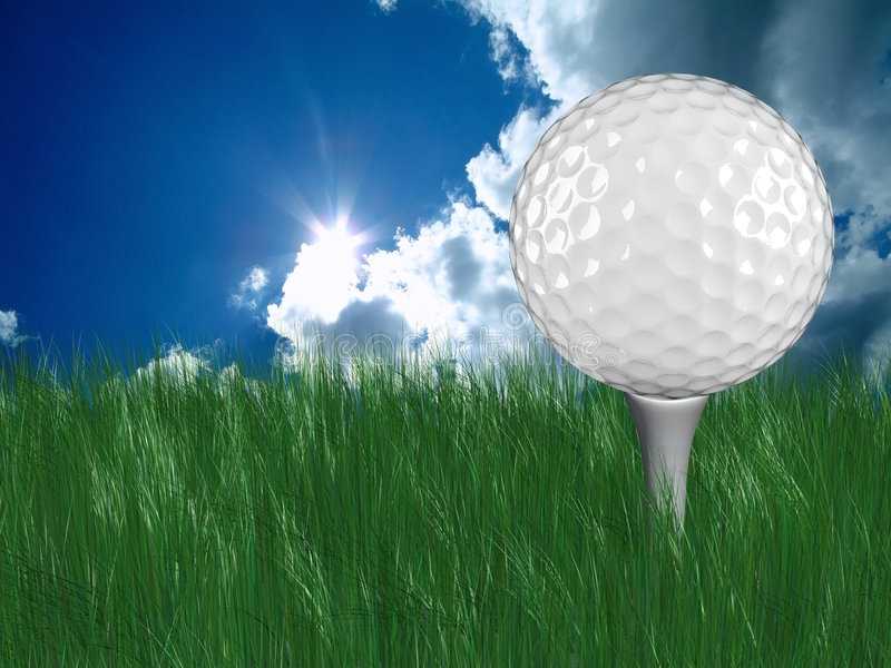 White golf ball on tee in grass stock images