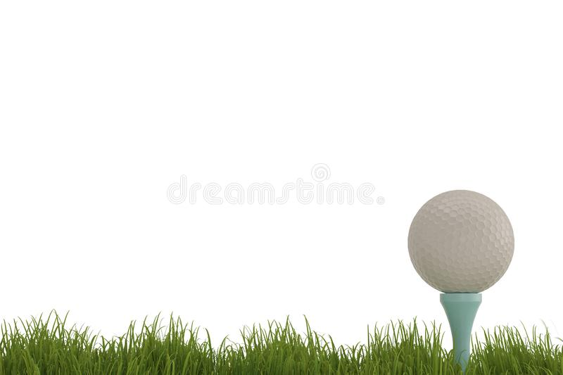 A white golf ball on tee in grass isolated on white background. stock illustration