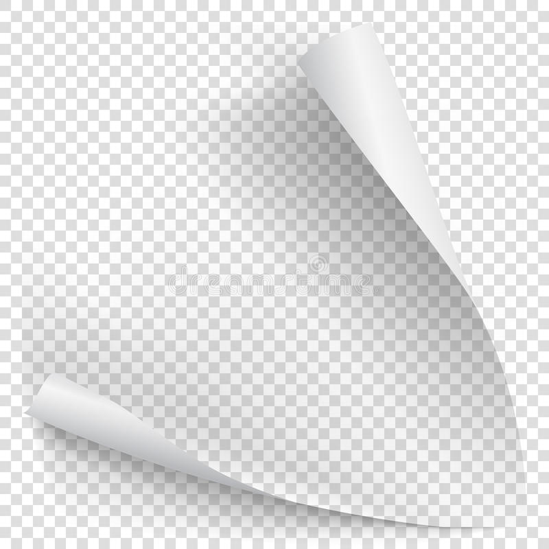 White gradient paper curl. With shadow isolated on transparent background. Vector sticker paper note for memo and notice. Vector template illustration for your stock illustration