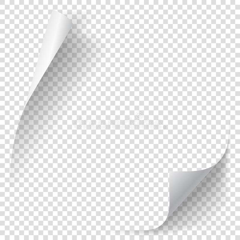 White gradient paper curl. With shadow on transparent background. Vector sticker paper note for memo and notice. Vector template illustration for your design royalty free illustration