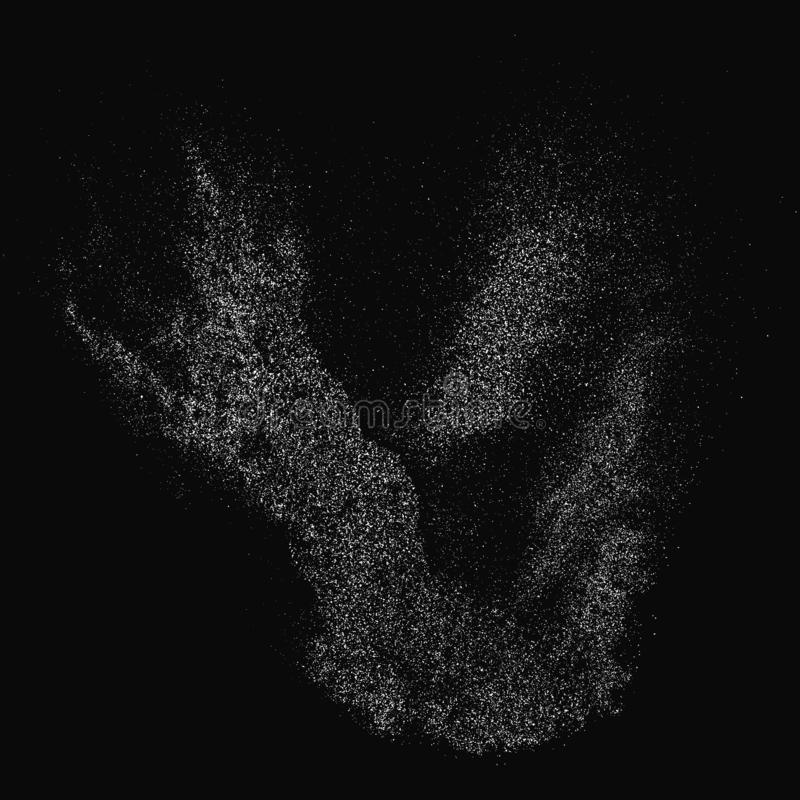 White Noise Granules. White Grainy Texture Isolated On Black Background. Dust Overlay. Light Coloured Noise Granules. Snow Vector Elements. Illustration, Eps 10 royalty free stock image