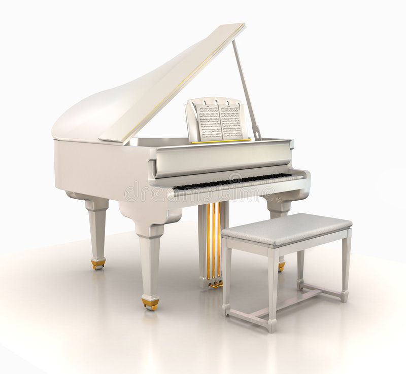 White grand piano royalty free illustration