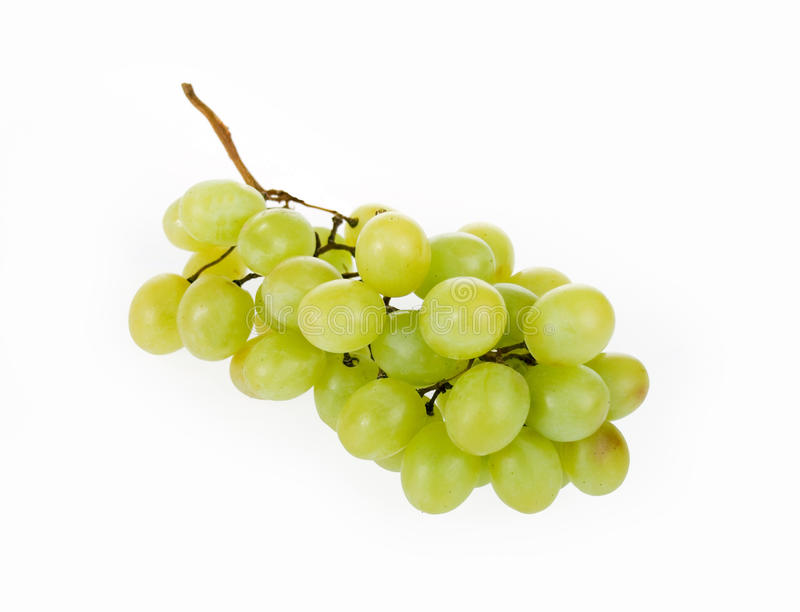 White Grapes. Delicious Green Grapes on a White Background stock photo