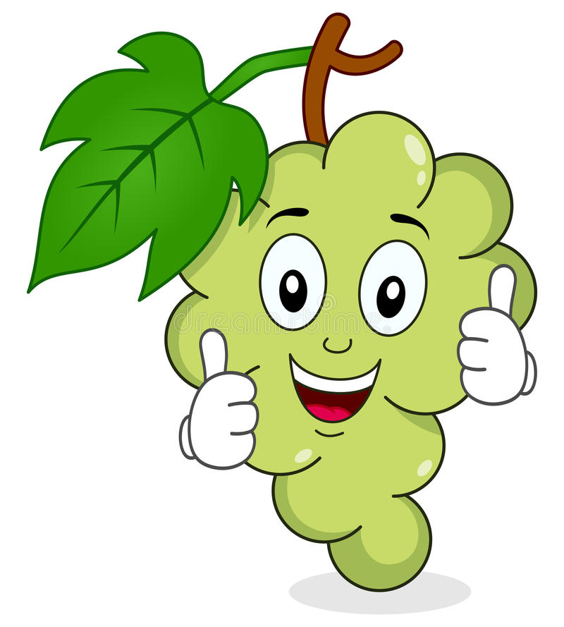 White Grapes Character With Thumbs Up Stock Vector ...