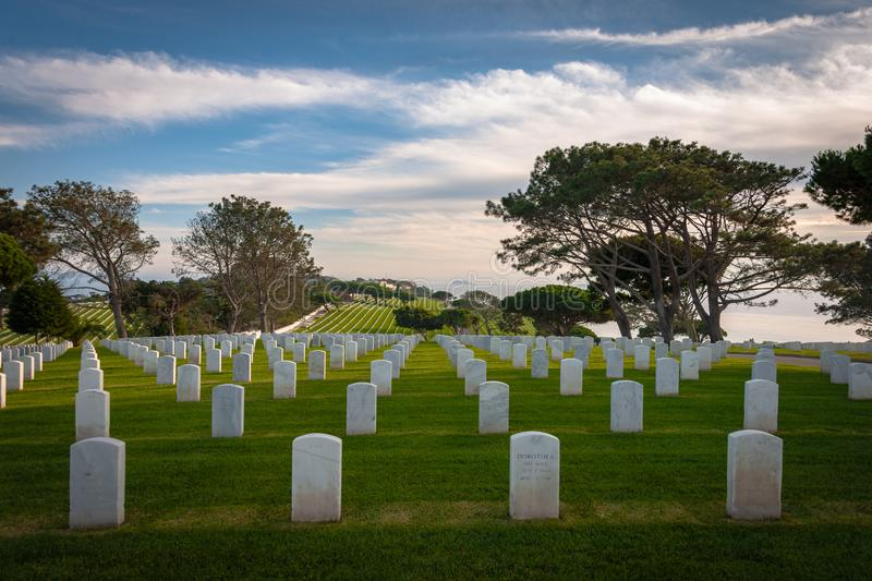 White Grave Markers Overlooking Pacific Ocean royalty free stock photo