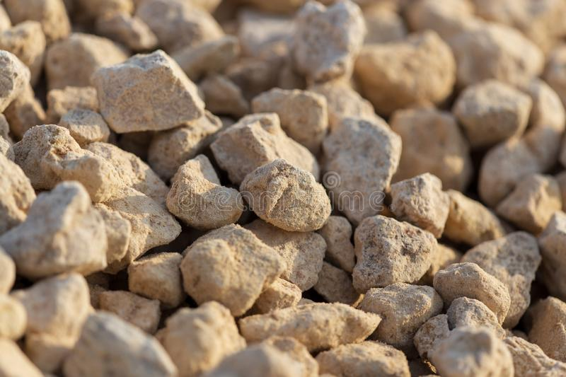 White gravel on a construction site as an abstract background royalty free stock image