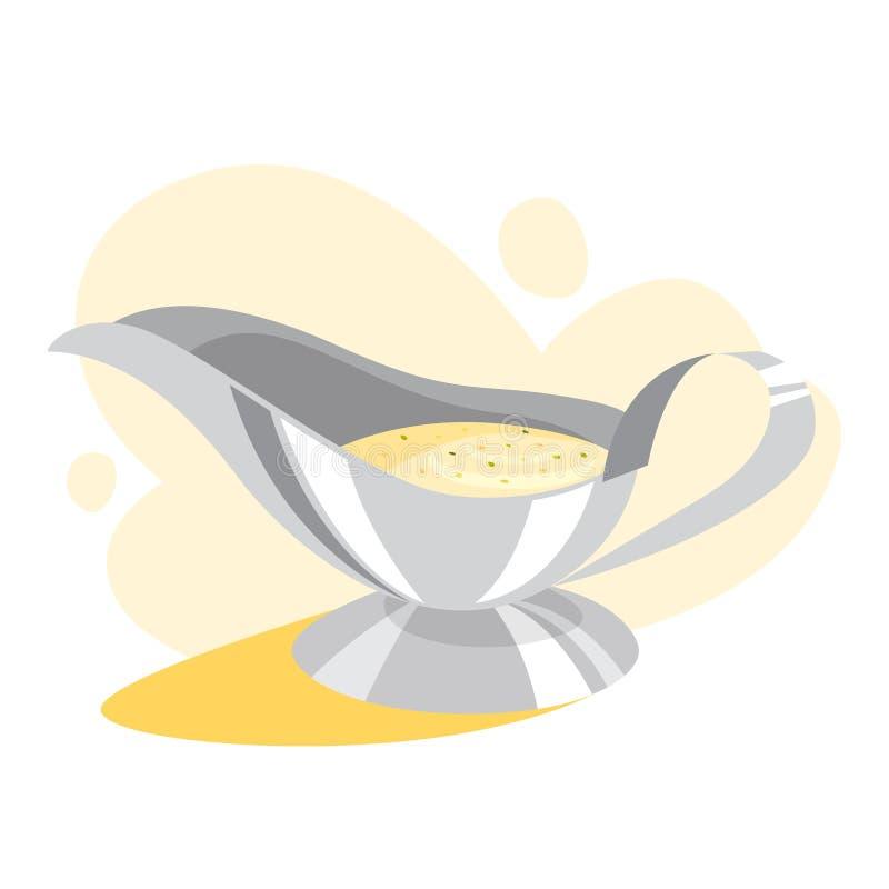 White gravy boat full of sauce. Ceramic bowl royalty free illustration