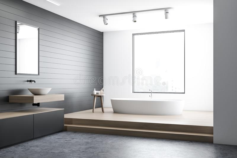 White and gray bathroom corner royalty free illustration