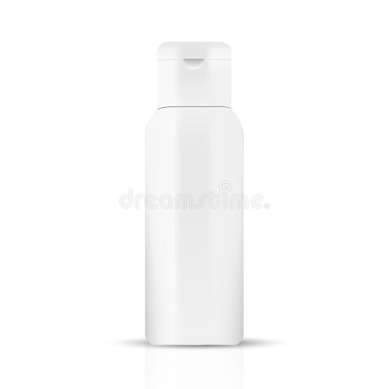 White gray beauty products/cosmetics bottle. VECTOR PACKAGING: White gray beauty products/cosmetics bottle on white background. Mock-up template ready for design stock illustration