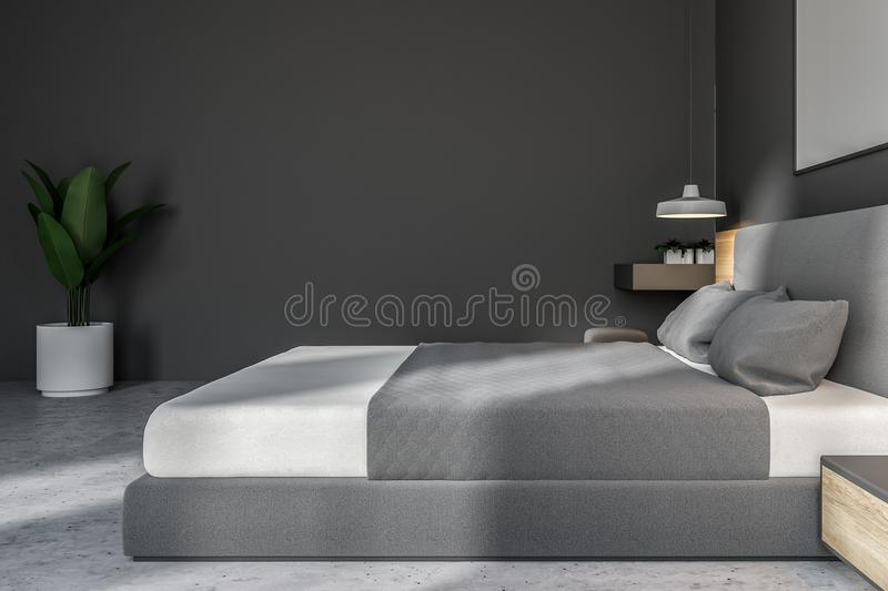White and gray bedroom with poster, side view vector illustration