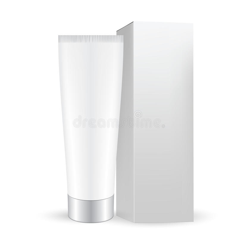 White gray box with white gray cosmetic tube with cap royalty free illustration