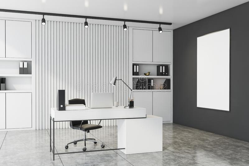 White and gray CEO office with poster vector illustration