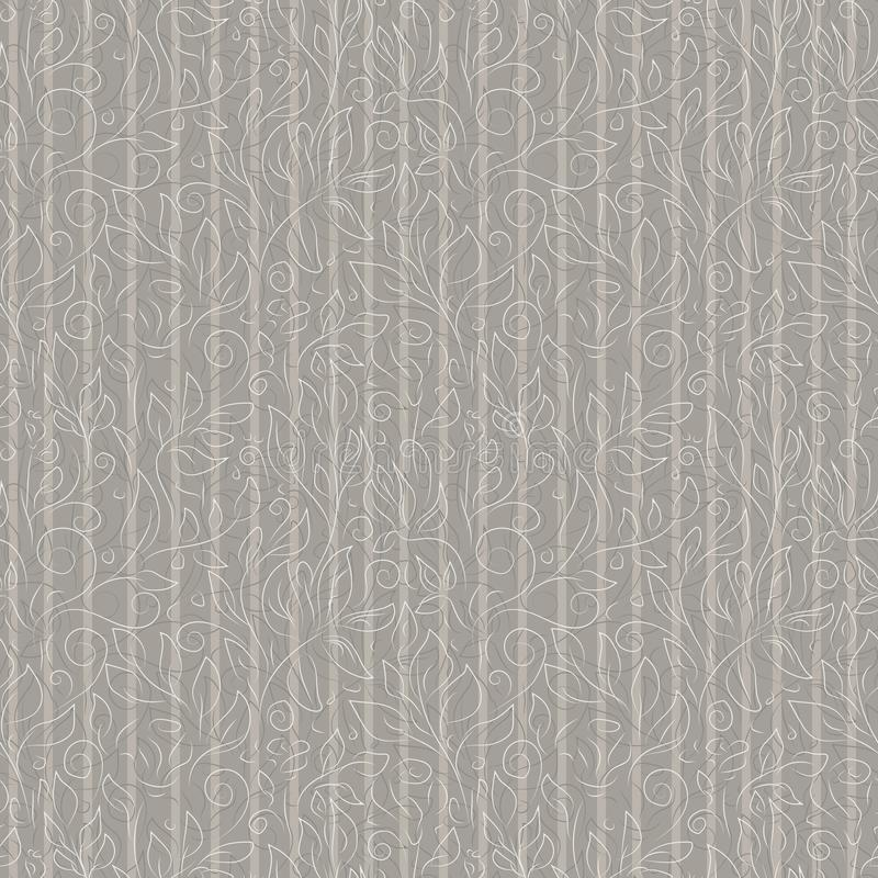 White and gray contours of abstract flowers and leaves on ash-colored background. stock illustration