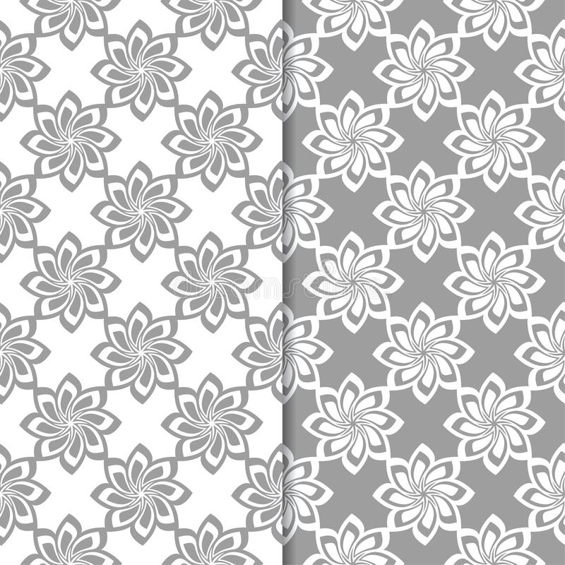 White and gray floral backgrounds. Set of seamless patterns vector illustration