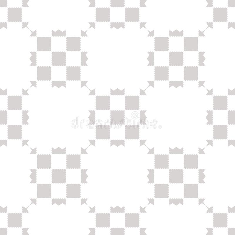 White and gray geometric checkered seamless pattern with squares, repeat tiles royalty free illustration