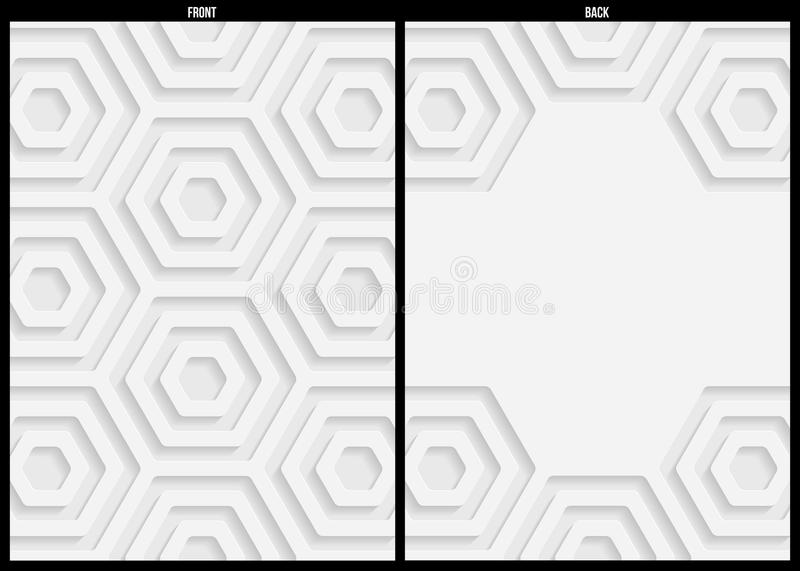 White and gray geometric pattern abstract background template. For website, banner, business card, invitation, postcard royalty free illustration
