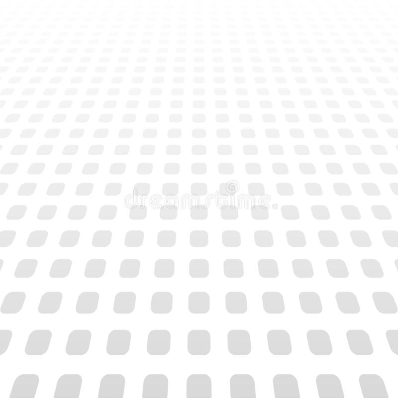 White gray gradient perspective background, vector abstract pattern squares with halftone effect royalty free illustration