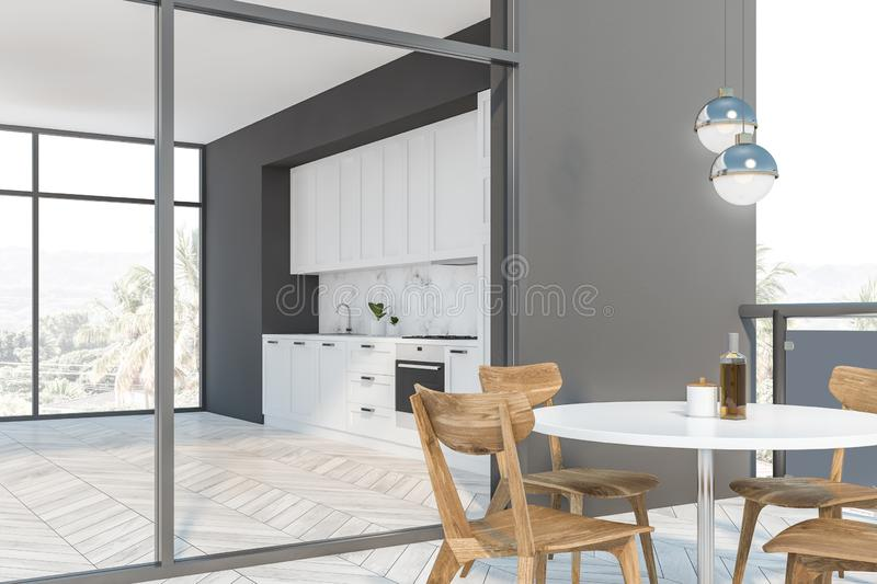 White and gray kitchen with balcony royalty free illustration