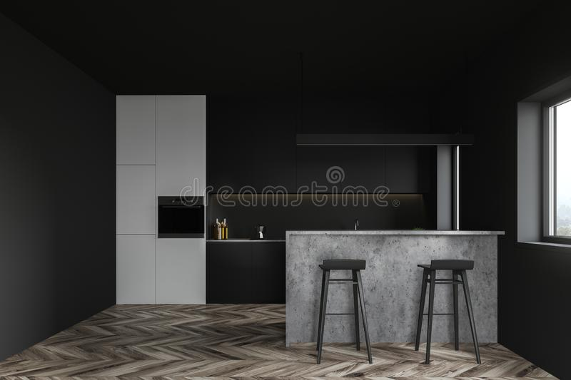White and gray kitchen with bar vector illustration