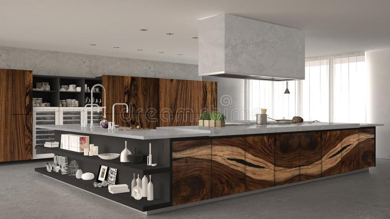 White and gray minimalistic kitchen, with classic wood fittings, luxury interior royalty free stock photography