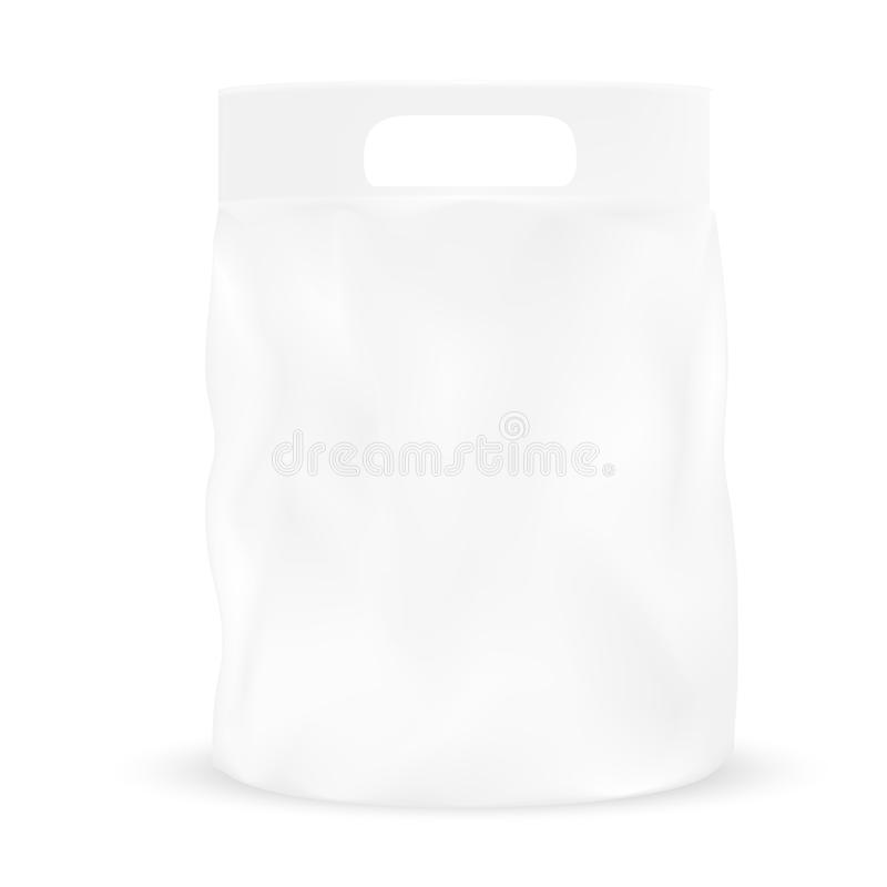 White gray packaging pocket snack bag with hole to handle. VECTOR PACKAGING: White gray packaging pocket snack bag with hole to handle on isolated white royalty free illustration