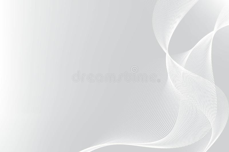 White and gray particle line wave abstract background modern design with copy space, Vector illustration for your business and web. Banner design royalty free illustration