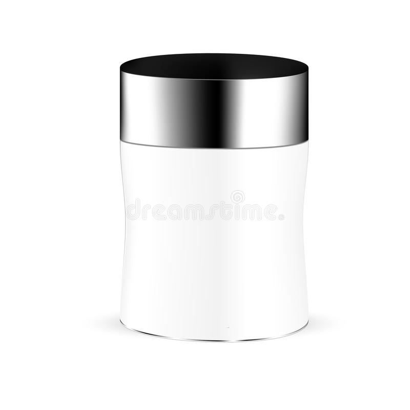 White gray round beauty product container with black lid stock illustration