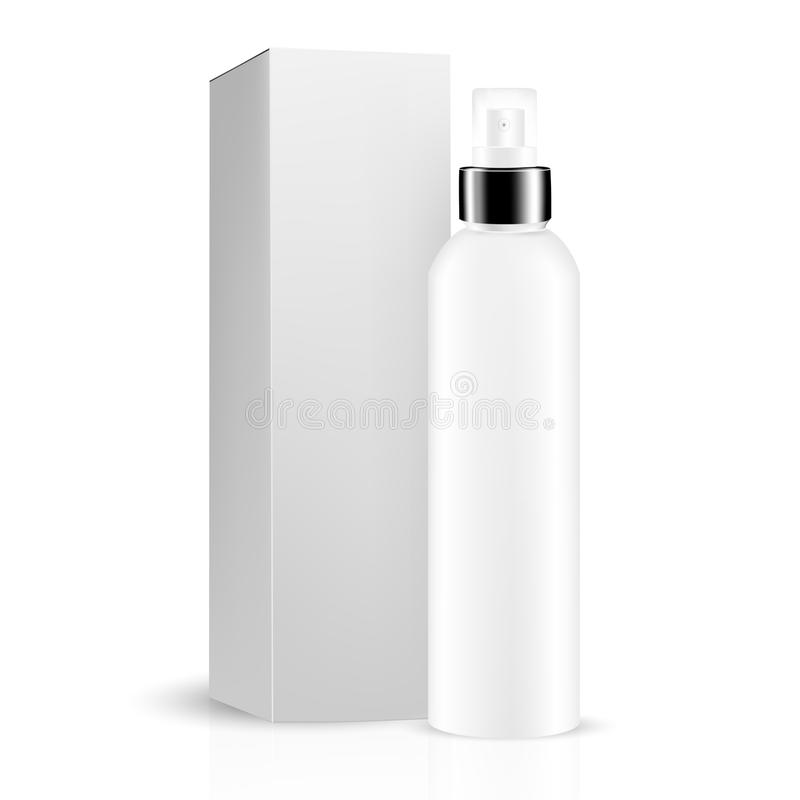 White gray round bottle sprayer with black lid, box included for cosmetic/perfume stock illustration