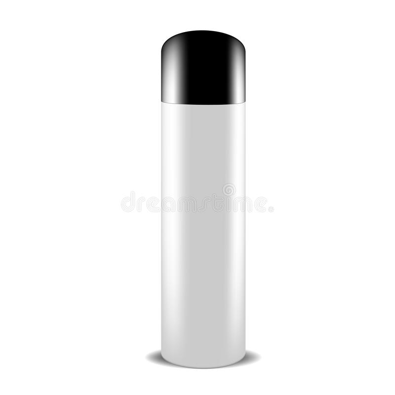 White gray spray can of beauty products or body care with black lid royalty free illustration