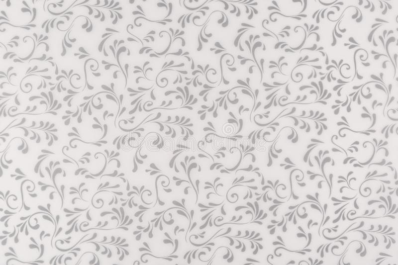 White and Gray texture, seamless floral leaf and swirl design background stock illustration
